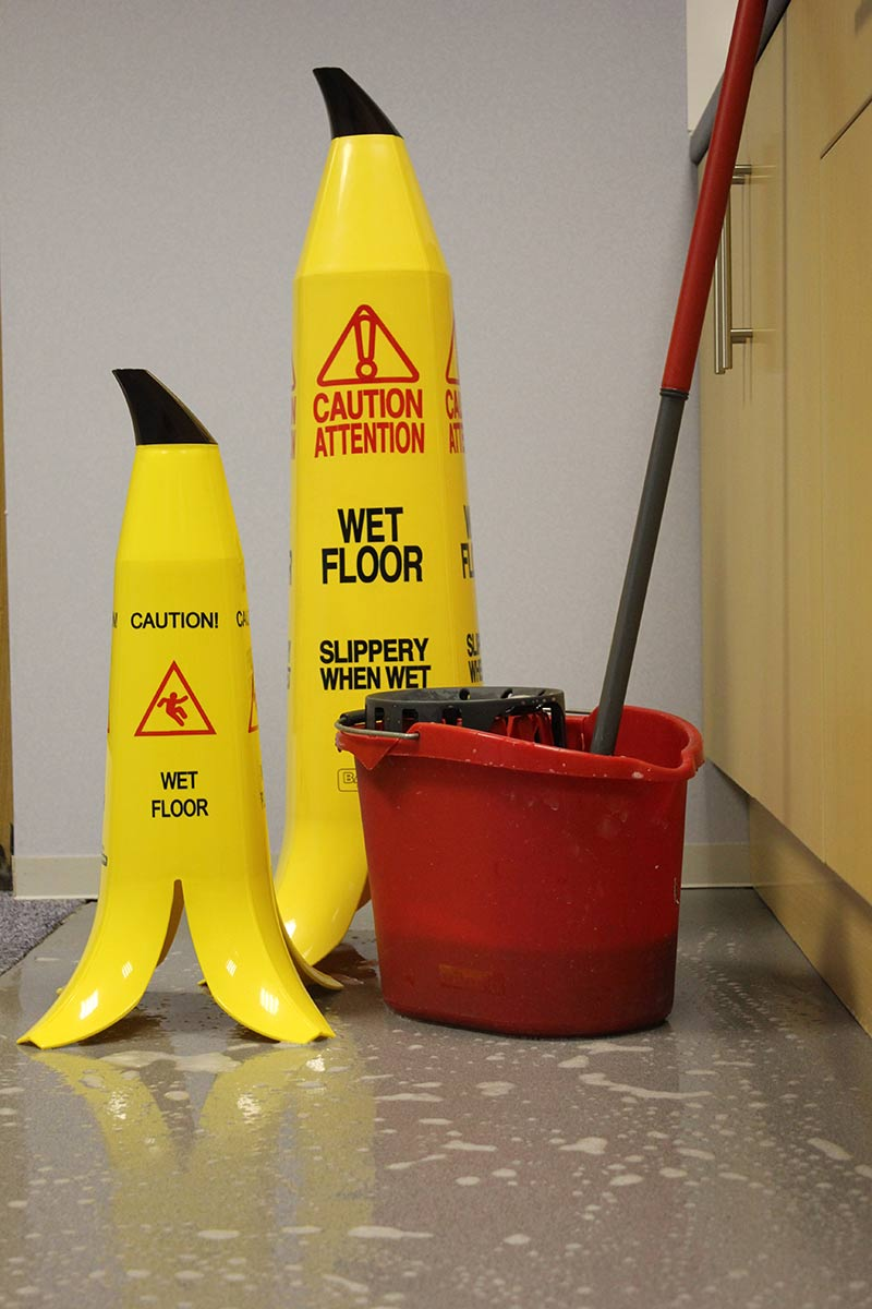 Banana Cone Safety Sign - Slippery when wet