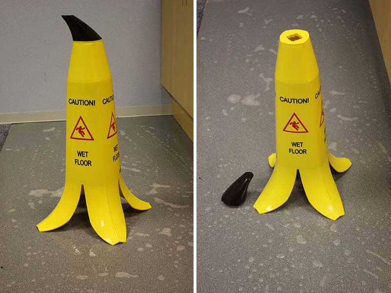 Banana Cone Safety Signs with removable stalks making them stackable and easy to store