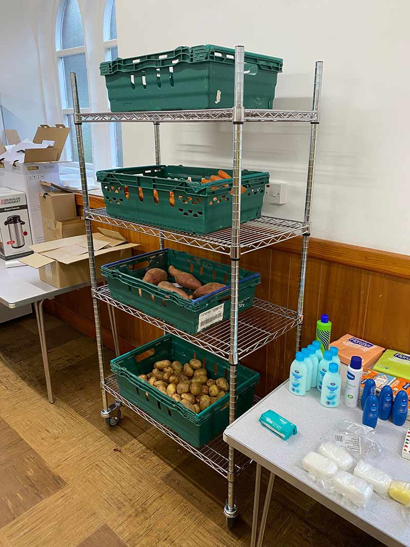 Chrome wire shelving for Kirkley Pantry donated by ESE Direct