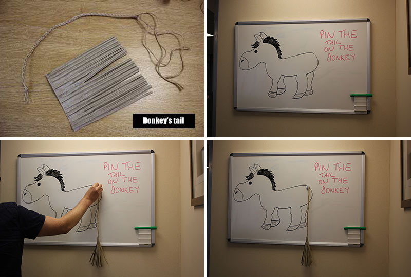 Pin the tail on the donkey - whiteboard style