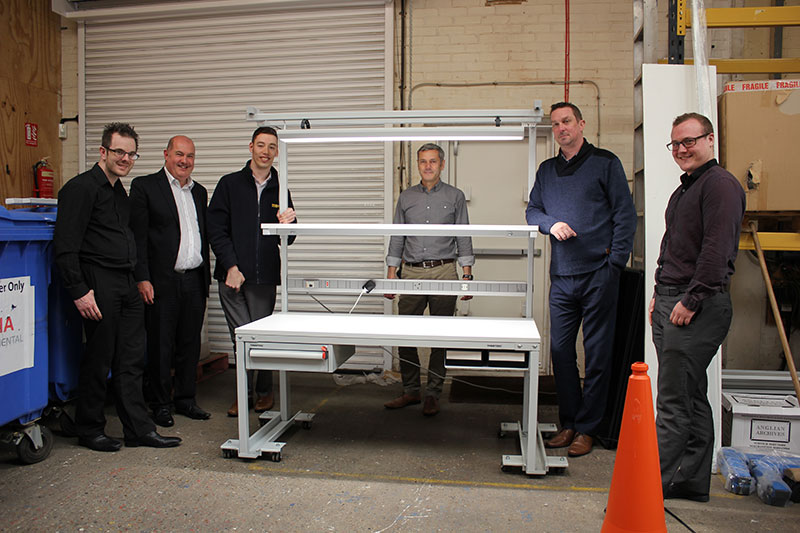 Left to right: Jason McDonald, James, Luke Palmer, Mark Wilson, Tim Windle and Jaison Dobbs with the ESD Workbench