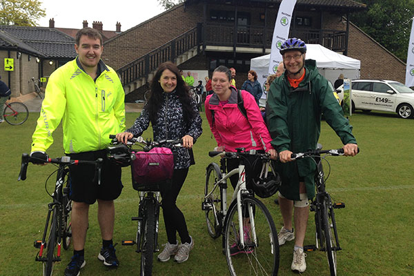 Nick, Kelly, Debs and Mike following their 50 mile bike ride raising money for the British Heart Foundation