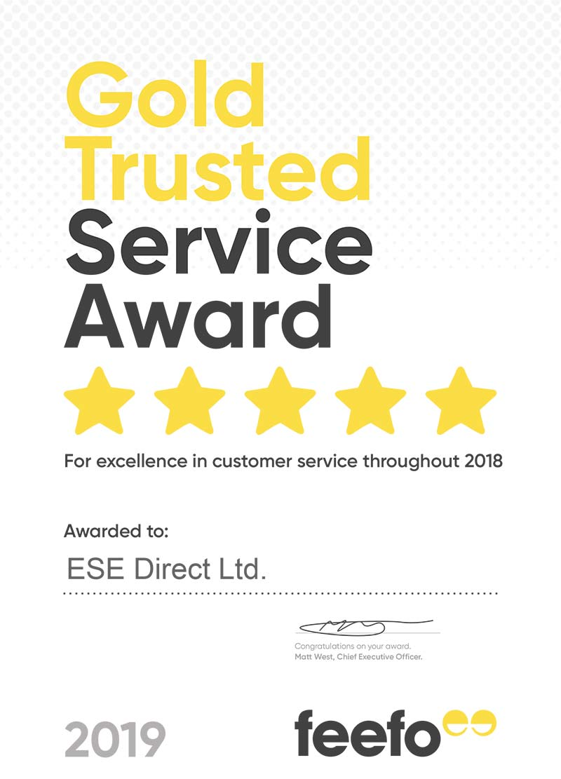 Feefo Gold Trusted Service Award certificate presented to ESE Direct