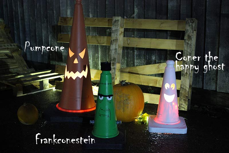 Pumpcone, Franconestein and Coner the happy ghost