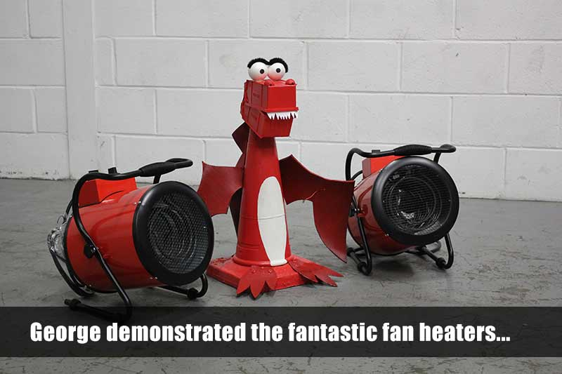 George demonstrates the Sealey industrial fan heaters