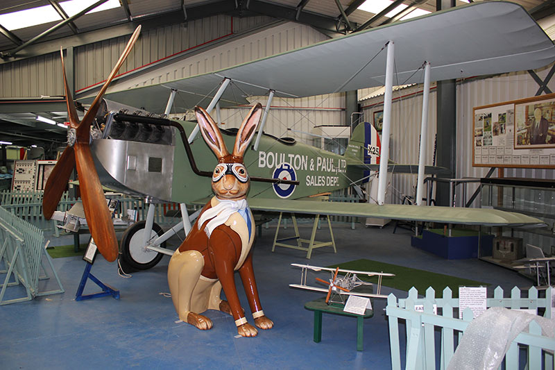 GoGoHareman Jack Hargreaves pictured with a Boulton and Paul P9 aircraft at Norfolk and Suffolk Aviation Museum