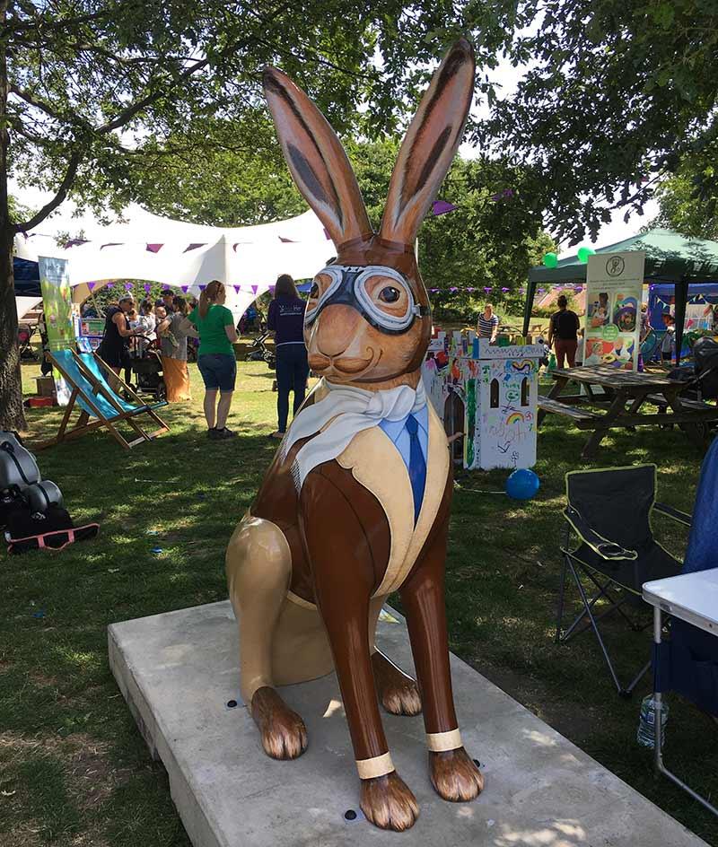 Find Hareman Jack on plinth number 20 in Norwich Castle Gardens