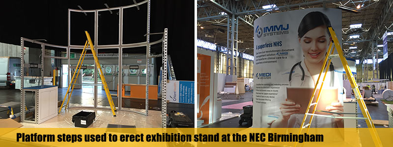 Platform steps used to erect an exhibition stand at the NEC Birmingham