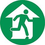 Green man exit floor marker sign