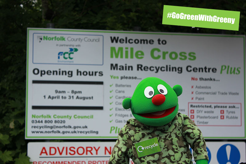 Go Green With Greeny at your local recycling and waste disposal centre