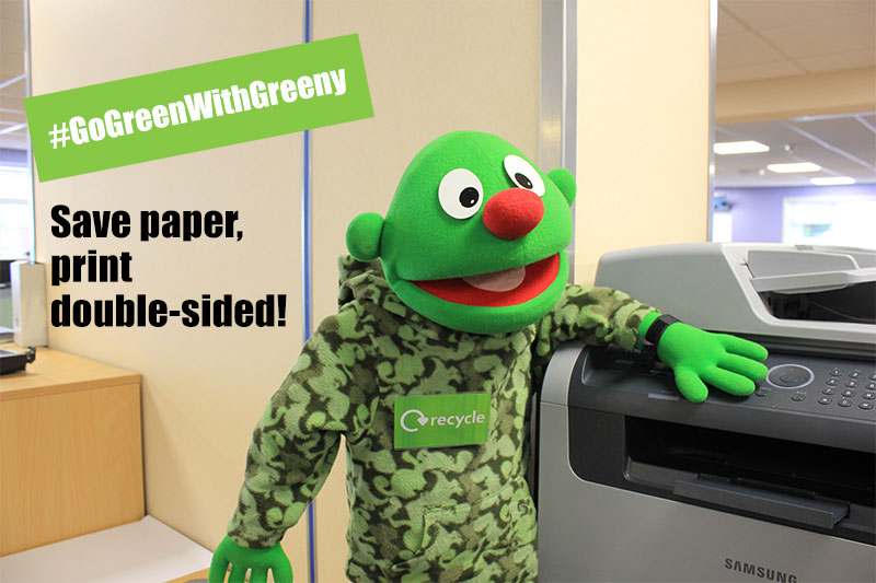 Go Green With Greeny - print on both sides of paper