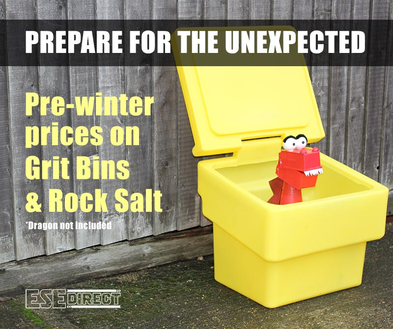 Prepare for the unexpected. Pre-winter prices on grit bins and road salt at ESE Direct