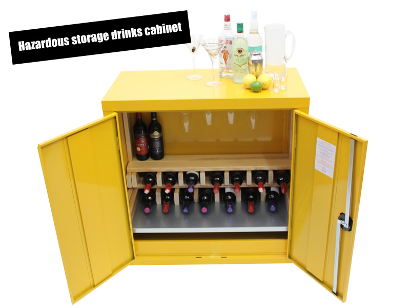 Hazardous storage cabinet transformed into a funky bespoke drinks cabinet
