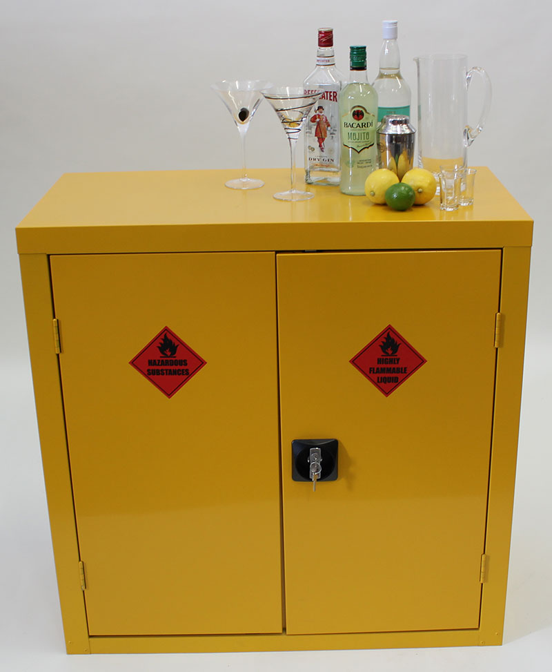 Hazardous storage cupboard transformed into a funky drinks cabinet