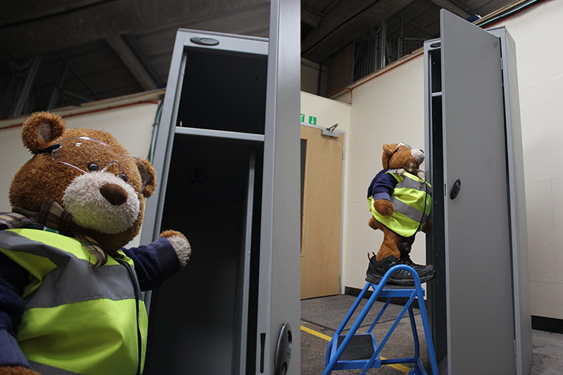 Health and Safety Bear checks out the Janitor locker