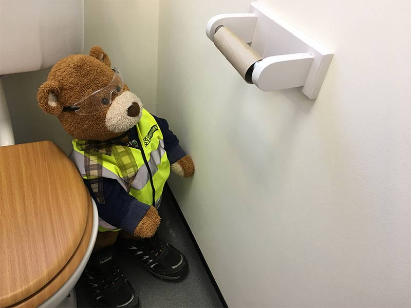 Health and Safety Bear says, Always replace the loo roll