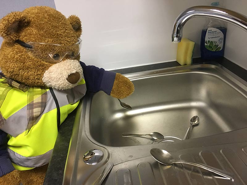 Health and Safety Bear says, Wash up your teaspoons