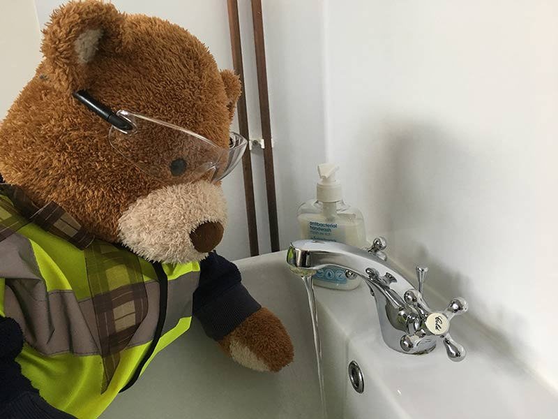 Health and Safety Bear says, Always wash your hands