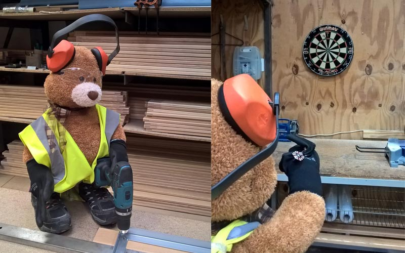 A game of darts with Health and Safety Bear