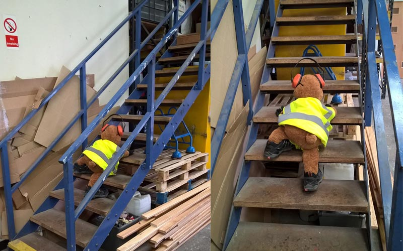 Health and Safety Bear climbs the stairs