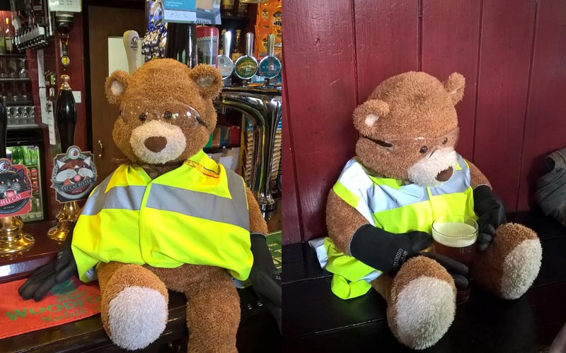 Health and Safety Bear enjoys a beer at The Fat Cat Pub in Norwich