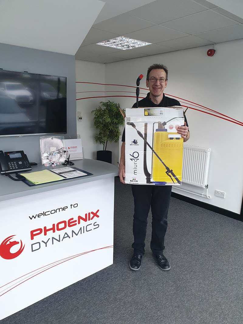 Phoenix Dynamics, winners of a backpack de-icer sprayer from ESE Direct