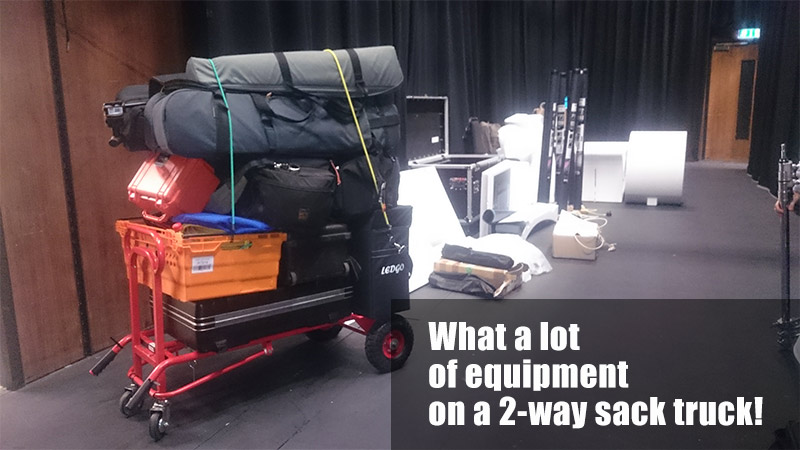 Video production equipment being transported on a 2-way sack truck from ESE Direct