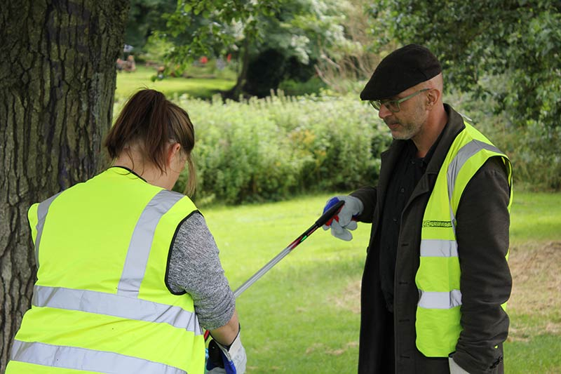 ESE Direct team members litter picking in local park