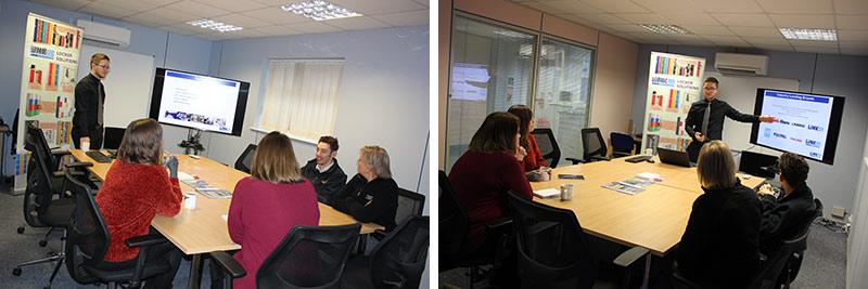 ESE Staff enjoying product training on steel charging lockers