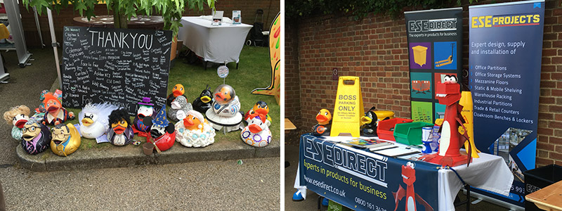 Mat with his Break Charity duck friends and ESE Direct's stand at Lunch on the Green