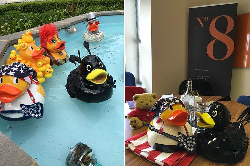 Mat takes a dip in the fountains at The Assembly House Norwich, Chatting over coffee with Duck in the USA at Social Media Hub
