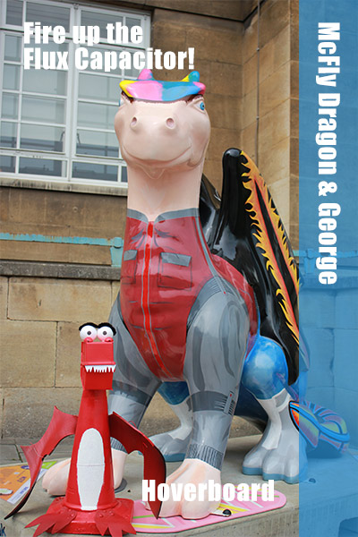 McFly Dragon has his hoverboard and Flux Capacitor in tow. George wonders if he can squeeze on with him