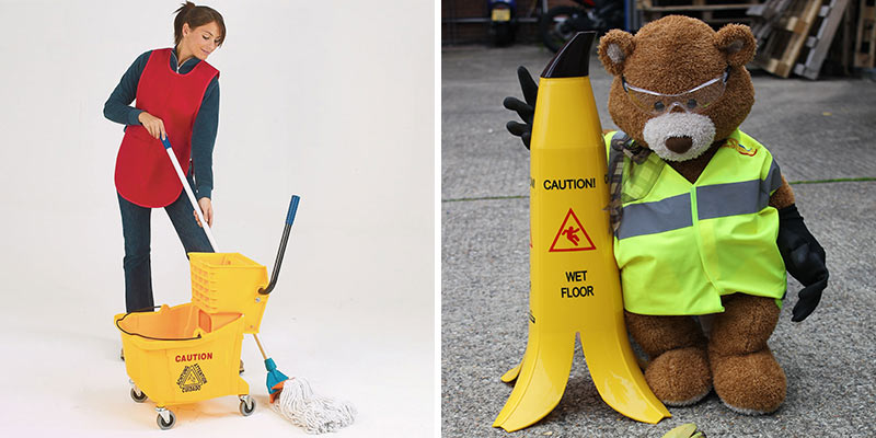 Mop and bucket and the Banana Cone safety sign
