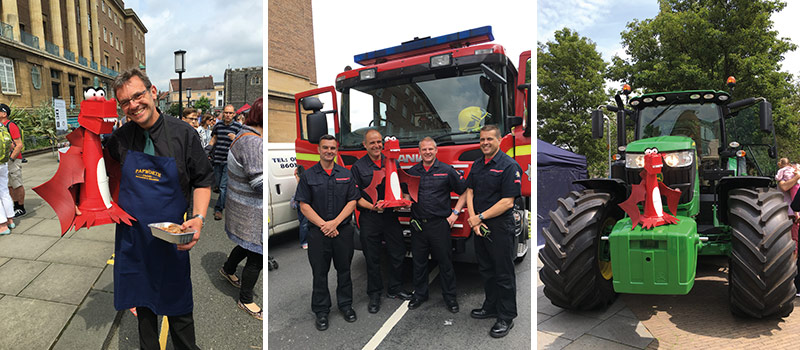 George with Papworth's Butcher, Norfolk Fire and Rescue Service and a Ben Burgess Tractor