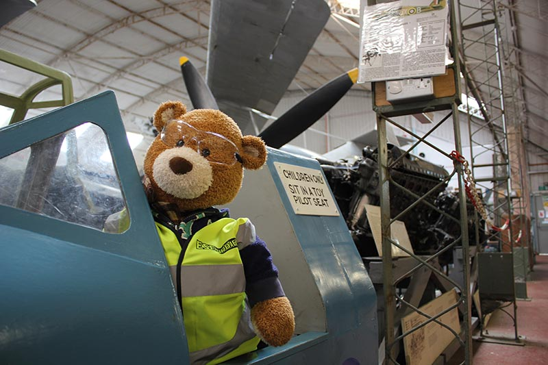 Health and Safety Bear tries out the children's pilot seat