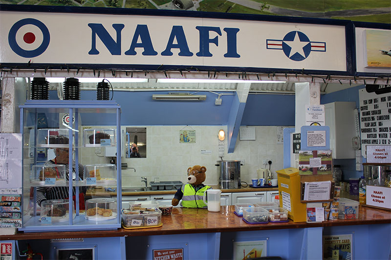 Health and Safety Bear makes himself useful in the Naafi, café