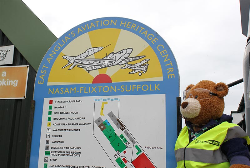 Health and Safety Bear helps point visitors in the right direction