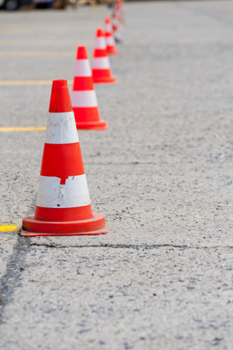 Cones and Yellow Lines