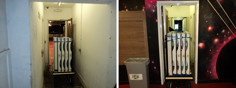 LED dance floor being transported on platform truck, fits easily through narrow doorway