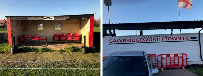 Smokers Ceasefire cigarette bins at Sawbridgeworth Football Club