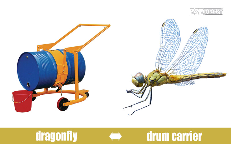 A dragonfly strikes a pose next to the drum carrier
