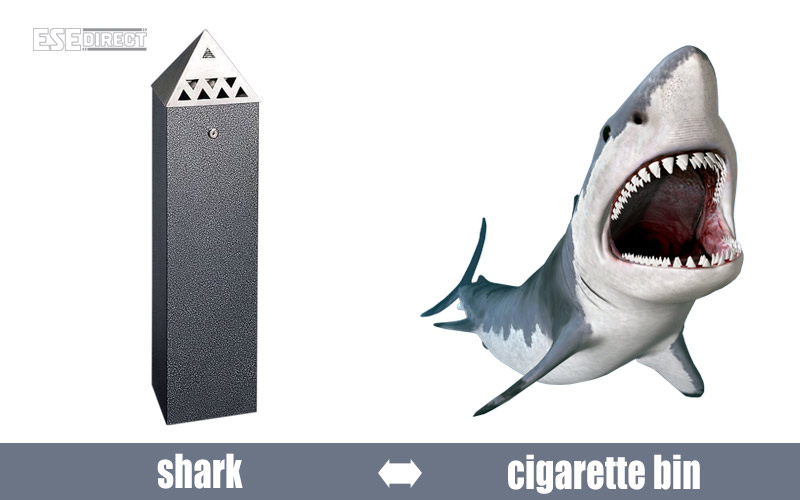 A shark creates a scary looking cigarette ash bin