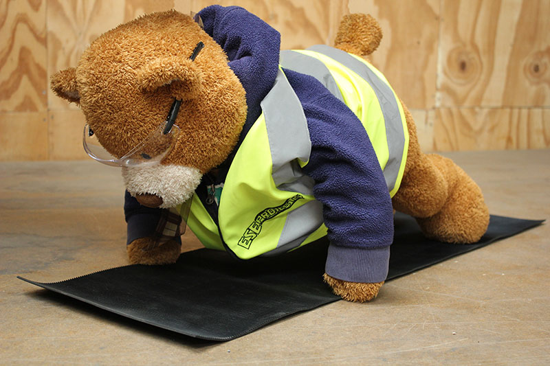 Health and Safety Bear demonstrates Downward Dog Yoga Pose