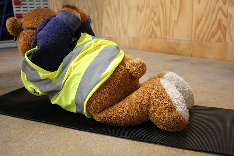 Health and Safety Bear demonstrates the Locust Yoga Pose