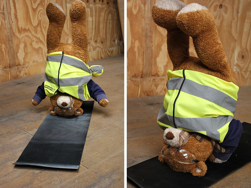 Health and Safety Bear demonstrates the Head Stand and Shoulder Stand Yoga Poses