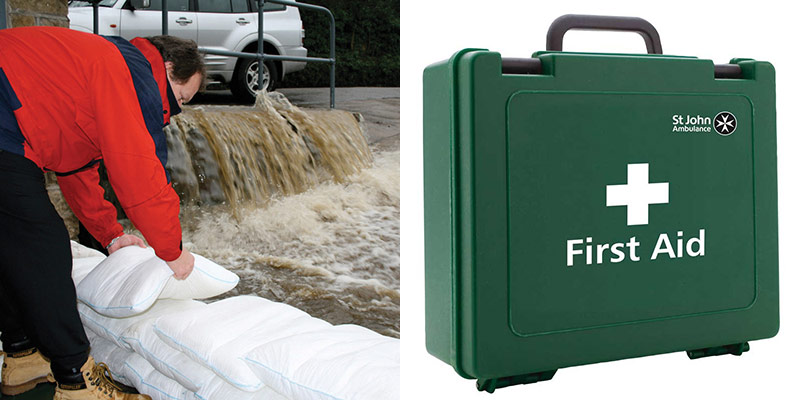 Expanding sand bags and St John Ambulance approved first aid kit