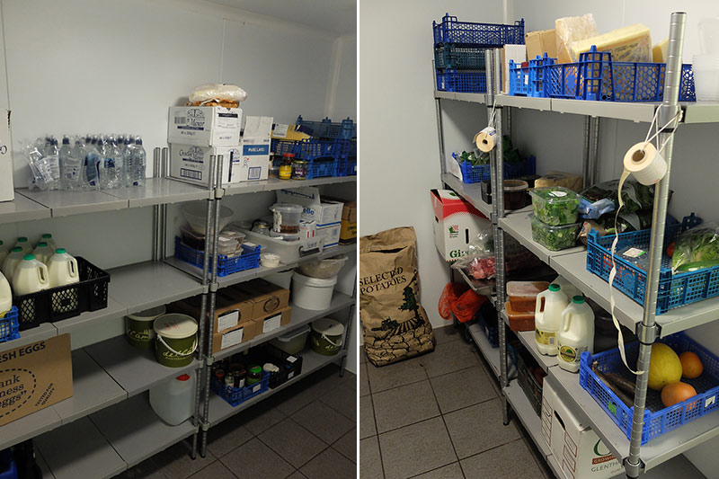 Solid Polymer Shelving installed in the cold room at The School of Artisan Food