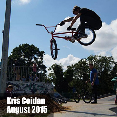 Kris Coidan on his BMX bike