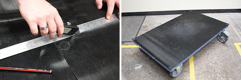 cutting rubber mat to size