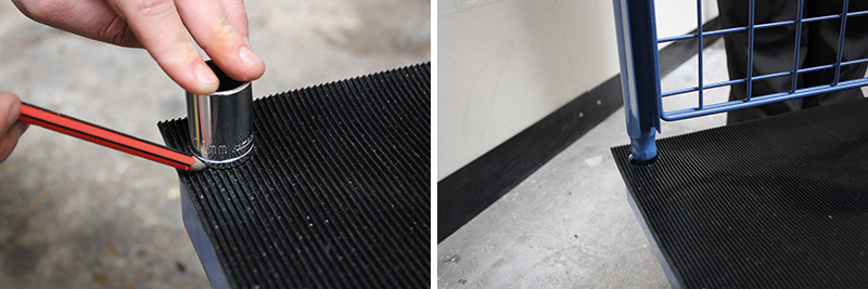 cutting holes in rubber mat to enable platform ends and sides to fit.